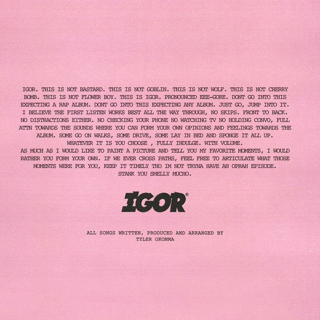 "[US]Tyler, The Creator's Message for ""IGOR"""